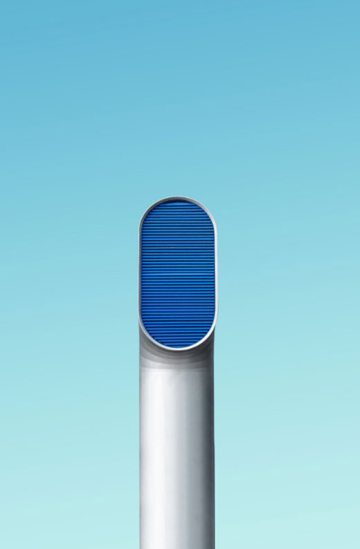 A tall silver exhaust pipe with a blue filter at the top. A filter that BMB Filtration may provide.